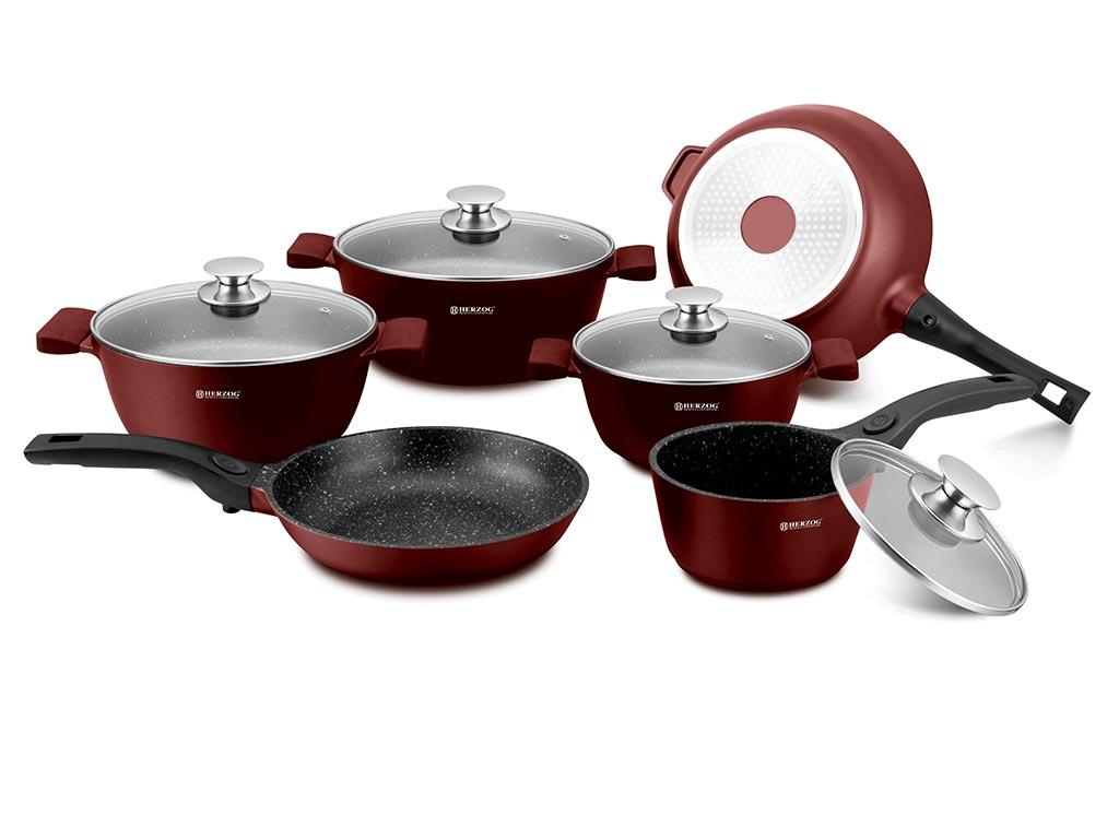 Σετ Μαγειρικά Σκεύη 16 Τεμαχίων με Αντικολλητική Μαρμάρινη Επίστρωση, Πάτο Induction και Τηγάνια με Αποσπώμενη Λαβή, Herzog HR-ST16-BUR – Herzog