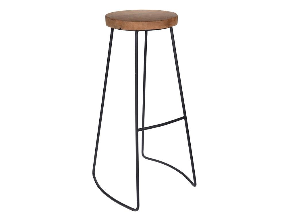 Ξύλινο Σκαμπό Μπαρ με μεταλλική βάση σε μαύρο χρώμα, 30x45x79 cm, Teak bar stool - Aria Trade