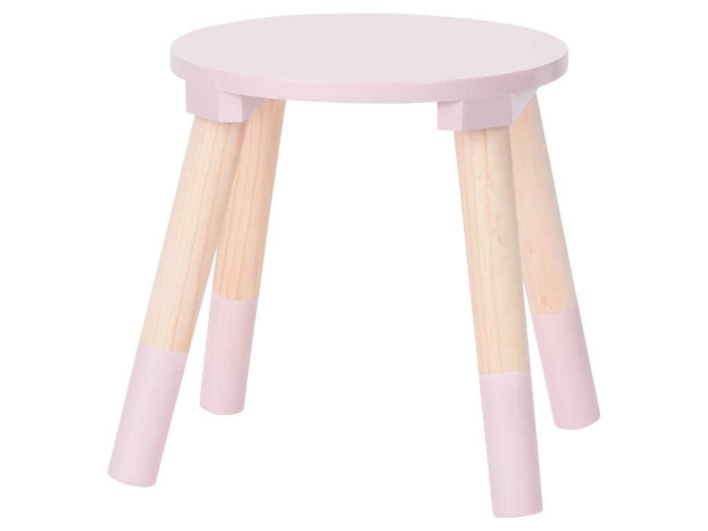 Παιδικό Ξύλινο Σκαμπό Τραπεζάκι με 4 ξύλινα πόδια σε ροζ χρώμα, 24x24x26 cm - Aria Trade