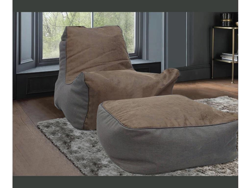 Σετ Πουφ Πολυθρόνα με Σκαμπό Υποπόδιο 2 τεμαχίων Εσωτερικού Χώρου, 93x80x50 cm - Aria Trade