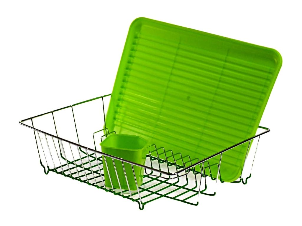 Μεταλλική Πιατοθήκη Στεγνωτήριο πιάτων με θήκη για μαχαιροπίρουνα σε πράσινο χρώμα, 45x35x13 cm - Aria Trade