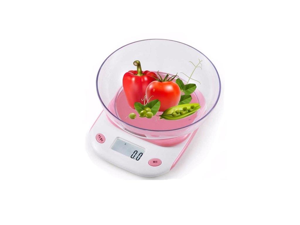 Ψηφιακή Ζυγαριά Κουζίνας με οθόνη LCD και μέγιστο βάρος 5kg σε ροζ χρώμα - Aria Trade