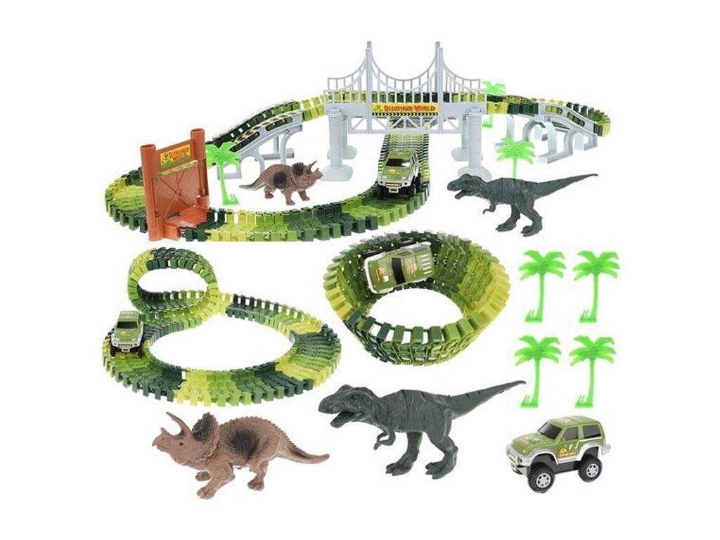 Σετ Αυτοκινητόδρομος 153 τεμαχίων δεινόσαυρους και αξεσουάρ, μήκος 216 cm