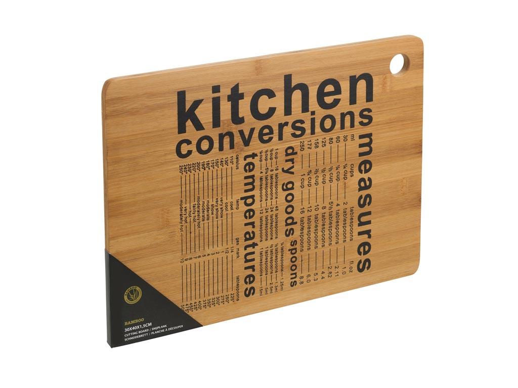 Ξύλινη Επιφάνεια Κοπής από Bamboo με στάμπα Kitchen Conversations, 40x30x1.5cm - Excellent Houseware