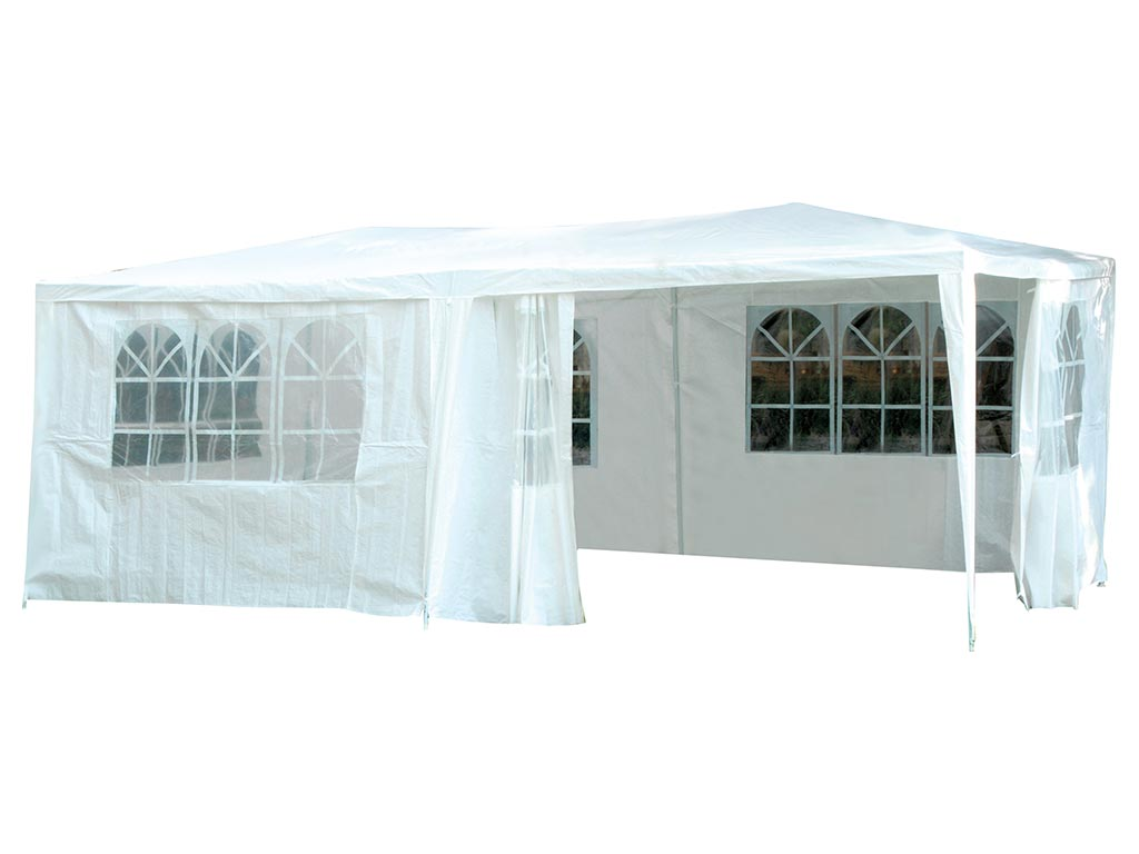Gazebo Αδιάβροχο Κιόσκι Τέντα με 4 πλευρές και Μεταλλικό σκελετό σε λευκό χρώμα, 3x6 m, Party Tent - Aria Trade