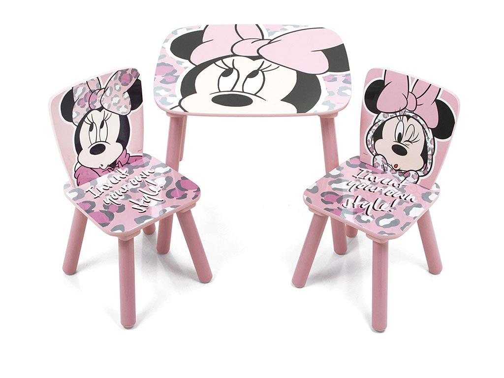 Ξύλινο Παιδικό Σετ Τραπεζάκι με 2 καρέκλες με θέμα Minnie, 50x50x44cm - Aria Trade