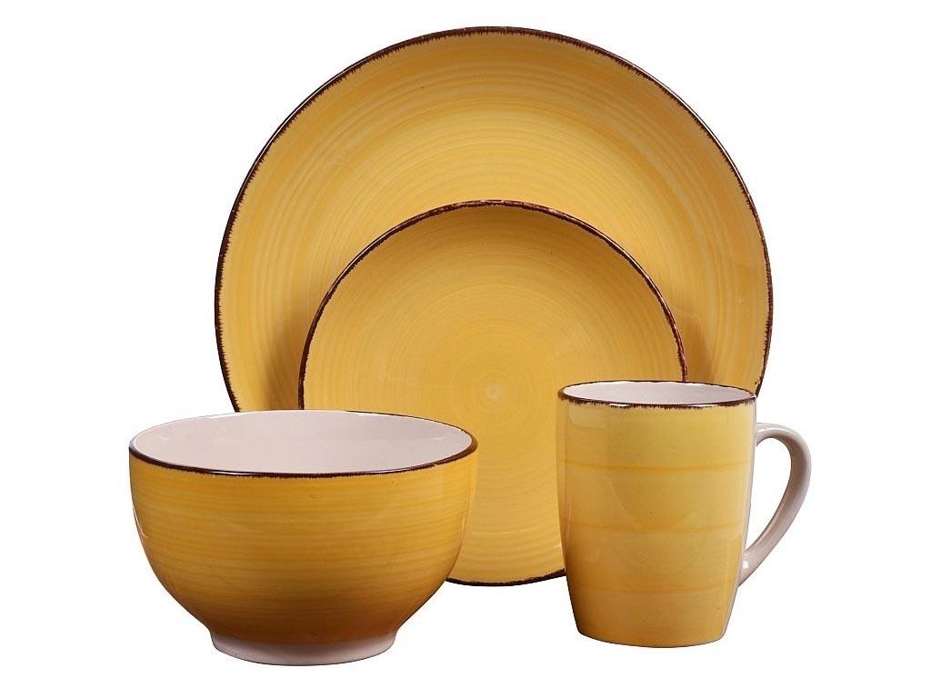 Σετ Σερβίτσιο με Πήλινα Πιάτα και Κούπες 16 τεμαχίων σε κίτρινο χρώμα, Dinner set - Valencia