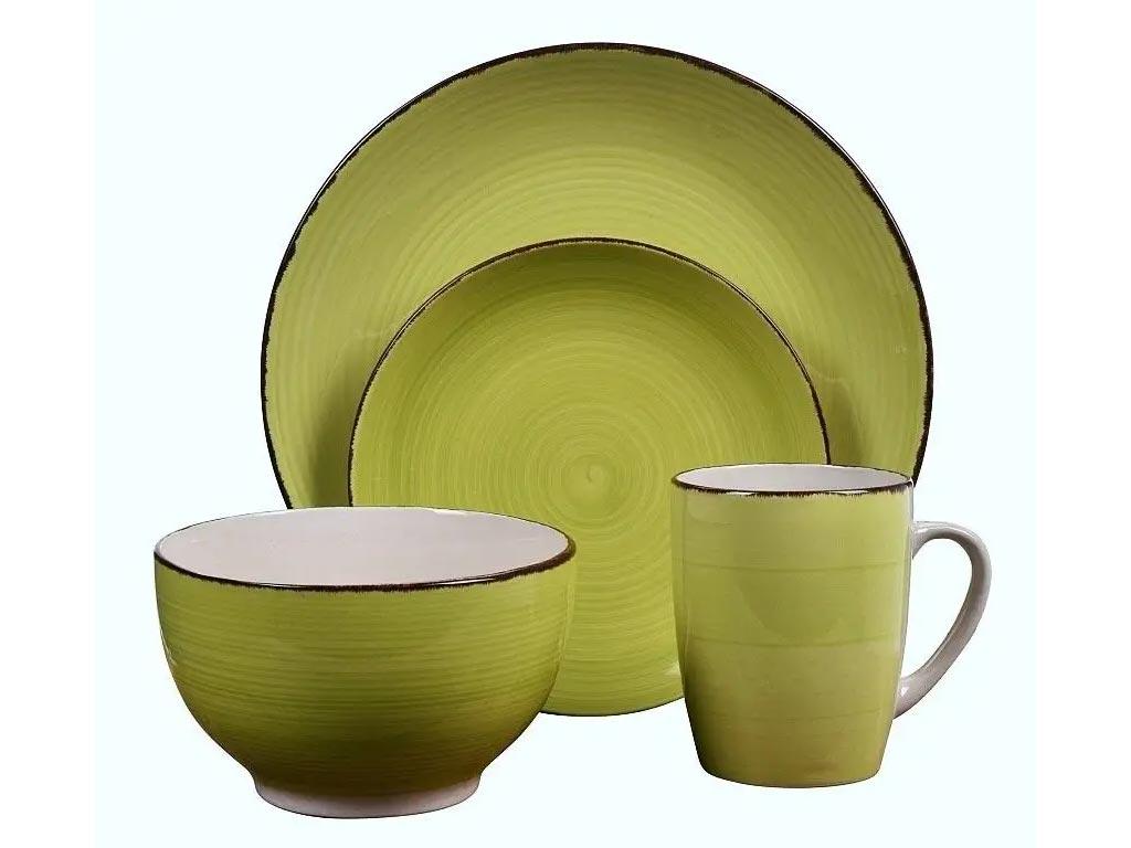 Σετ Σερβίτσιο με Πήλινα Πιάτα και Κούπες 16 τεμαχίων σε πράσινο χρώμα, Dinner set - Valencia