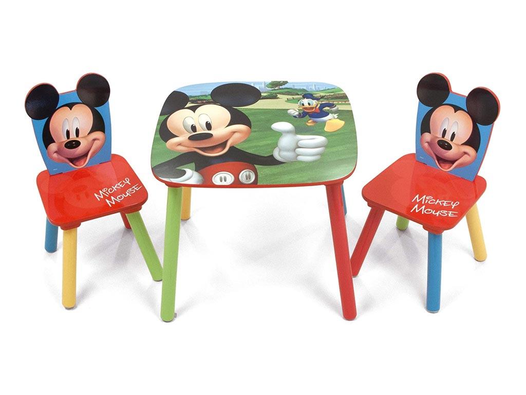 Ξύλινο Παιδικό Σετ Τραπεζάκι με 2 καρέκλες με θέμα Mickey Mouse, Table Set - Aria Trade