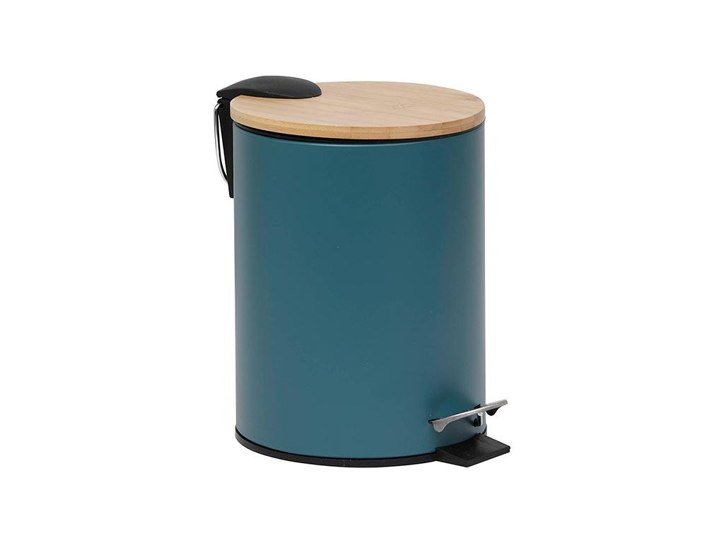 Μεταλλικός Κάδος Απορριμμάτων χωρητικότητας 2.5L σε πετρόλ χρώμα με καπάκι από Bamboo, 17×20.5×23 cm – Aria Trade