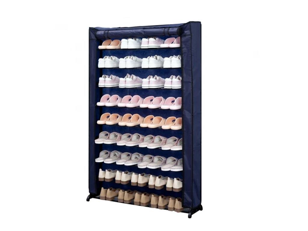 Herzberg Παπουτσοθήκη Σταντ με 9 ράφια για έως και 45 ζευγάρια σε μπλε χρώμα 91x16x139 cm, HG-8077 – Herzberg