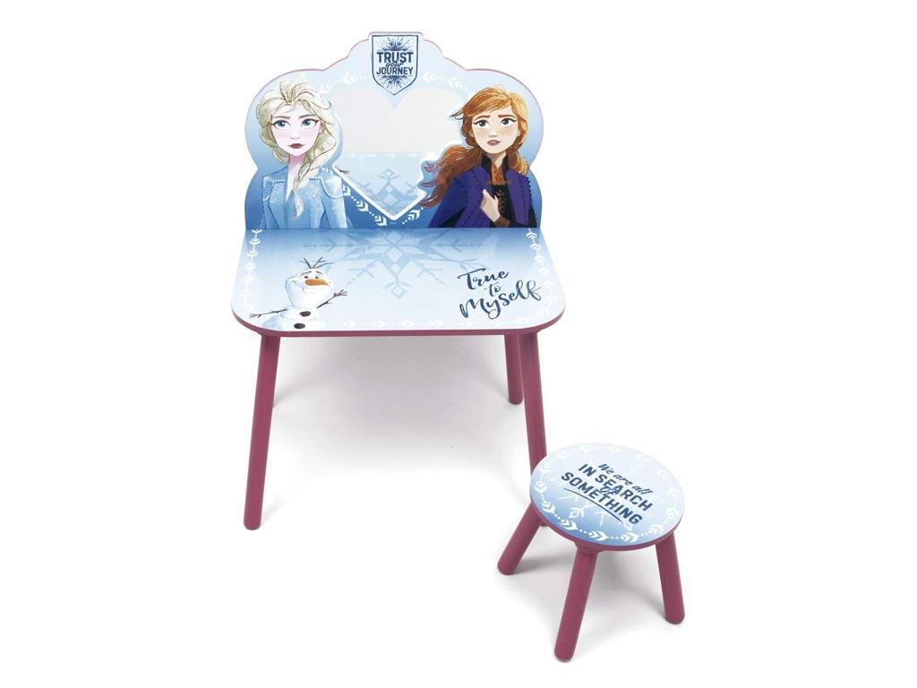 Frozen II Παιδικό Μπουντουάρ Σετ Ξύλινο Τραπεζάκι με σκαμπό και καθρέφτη 60x40x85 εκατοστά - Aria Trade