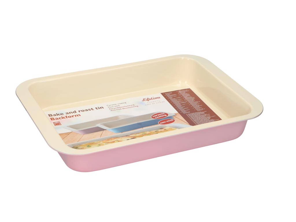 Ταψί Ψησίματος με αντικολλητική κεραμική επίστρωση σε τρία χρώματα, 36.5x24.5x5 cm Ροζ - Lifetime Cooking