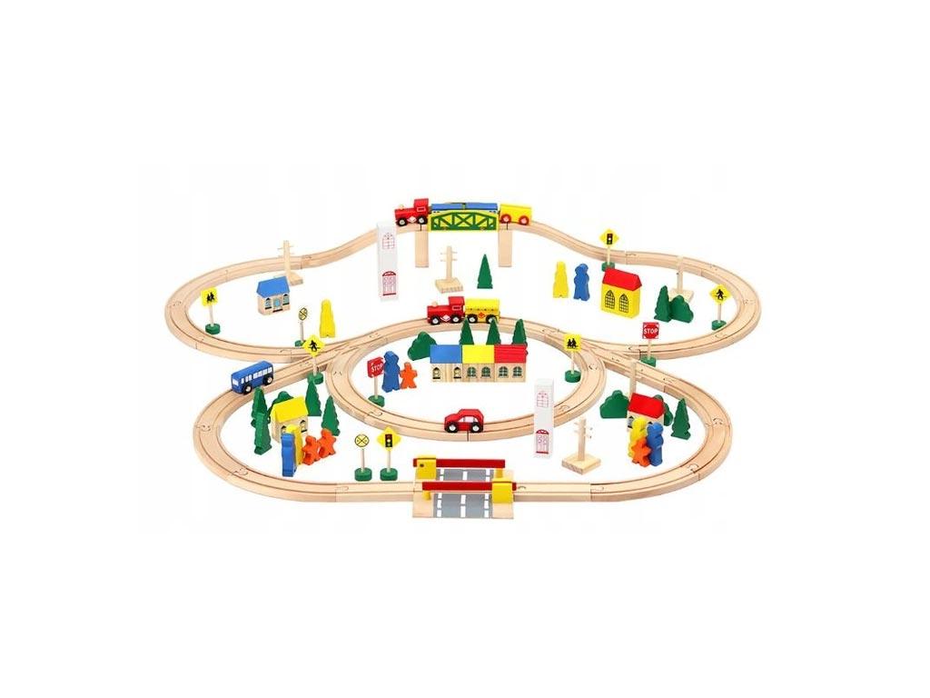 Ξύλινος Συναρμολογούμενος Σιδηρόδρομος 100 τεμαχίων, 100x105x11 cm