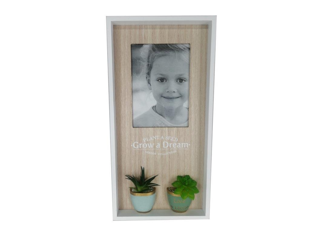 Μοντέρνα Σύνθεση με Κορνίζες Σετ 3 Τεμαχίων Θέσεις για 4 Φωτογραφίες, Με Διακοσμητικά 1 Φώτο 2 Φυτά, 40x4x20cm - Cb