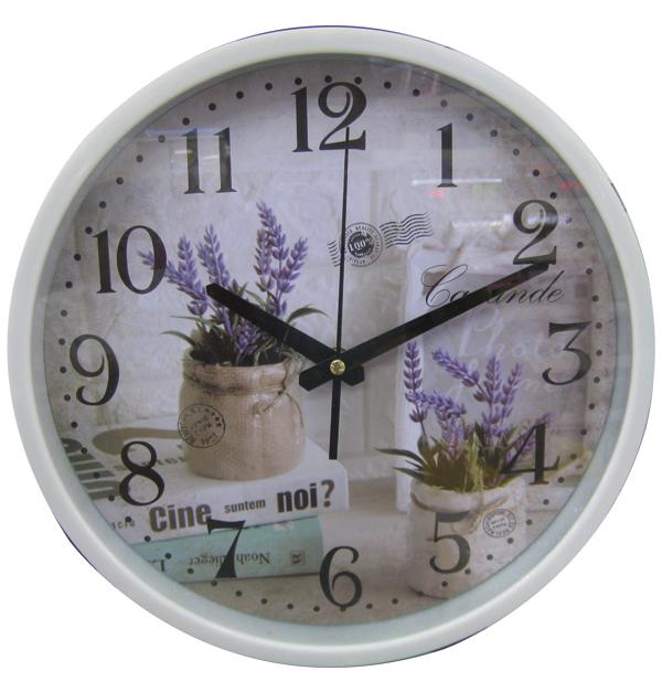 Ρολόι τοίχου Διαμέτρου 30cm Σε Σχέδιο Λεβάντα με Μωβ Χρωματισμούς - Cb