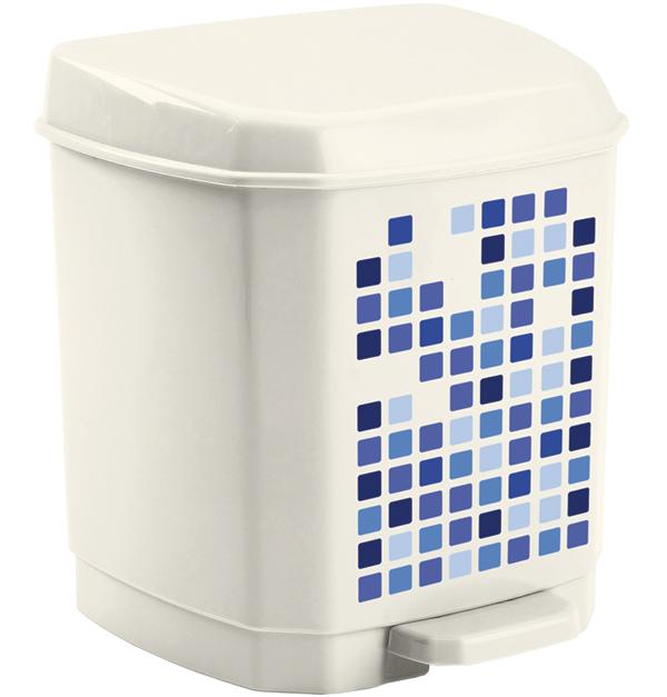 Πλαστικός Κάδος Απορριμάτων με Πεντάλ, Σε Λευκό Χρώμα με Μπλε Σχέδιο, Ιδανικός γ μπάνιο   αξεσουάρ μπάνιου