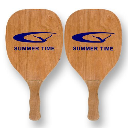 Εικόνα Ξύλινη Ρακέτα Παραλίας 40x22x1.2cm σετ 2 Τεμ με σχέδιο Summer Time, 42-1440 - Cb