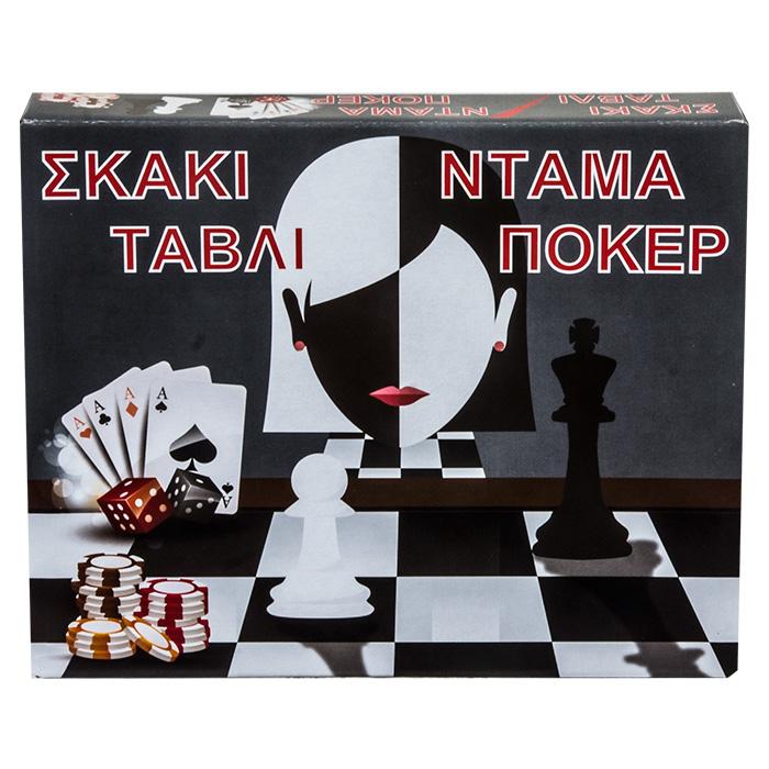 Επιτραπέζιο Παιχνίδι 4 Σε 1 Σκάκι Τάβλι Ντάμα Πόκερ - Cb παιχνίδια   επιτραπέζια παιχνίδια