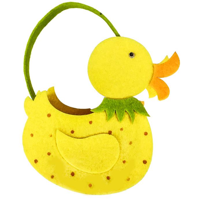19e883c7e707 Πασχαλινό Διακοσμητικό Καλάθι 13x19x7cm Πάπια από Τσόχα με Λαβή σε Κίτρινο  Χρώμα