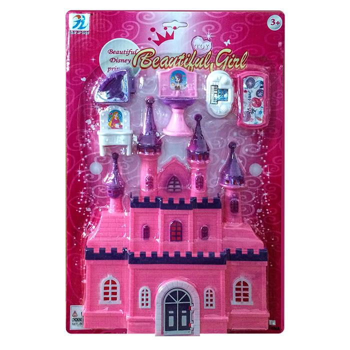 Παιδικό Παιχνίδι Κάστρο Ροζ και Έπιπλα Πριγκίπισσας Σε Καρτέλα - Cb