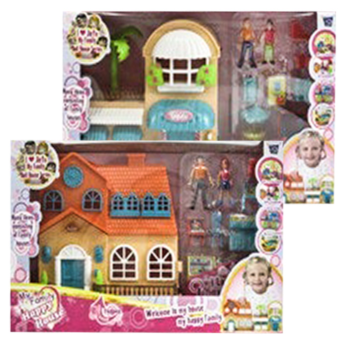 Παιδικό Παιχνίδι Κουκλόσπιτο Μεσαίου Μεγέθους με Ήχο, Φως, Έπιπλα και Οικογένεια Σε 2 Σχέδια - Cb