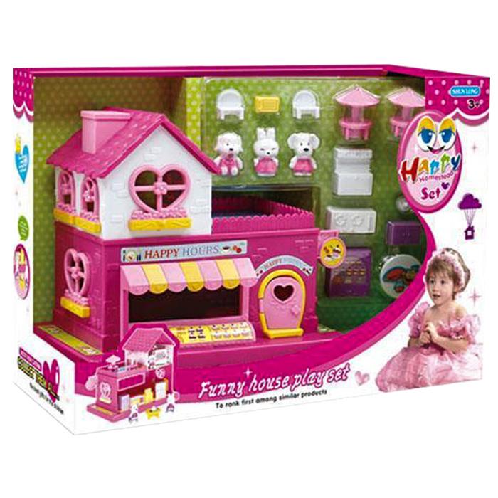 Παιδικό Κουκλόσπιτο Με Έπιπλα και Ζωάκια, Funny House - Cb