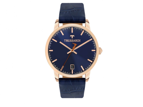Trussardi Αντρικό Ρολόι My Time Stainless Steel Case Blue Leather Strap, R2451113001