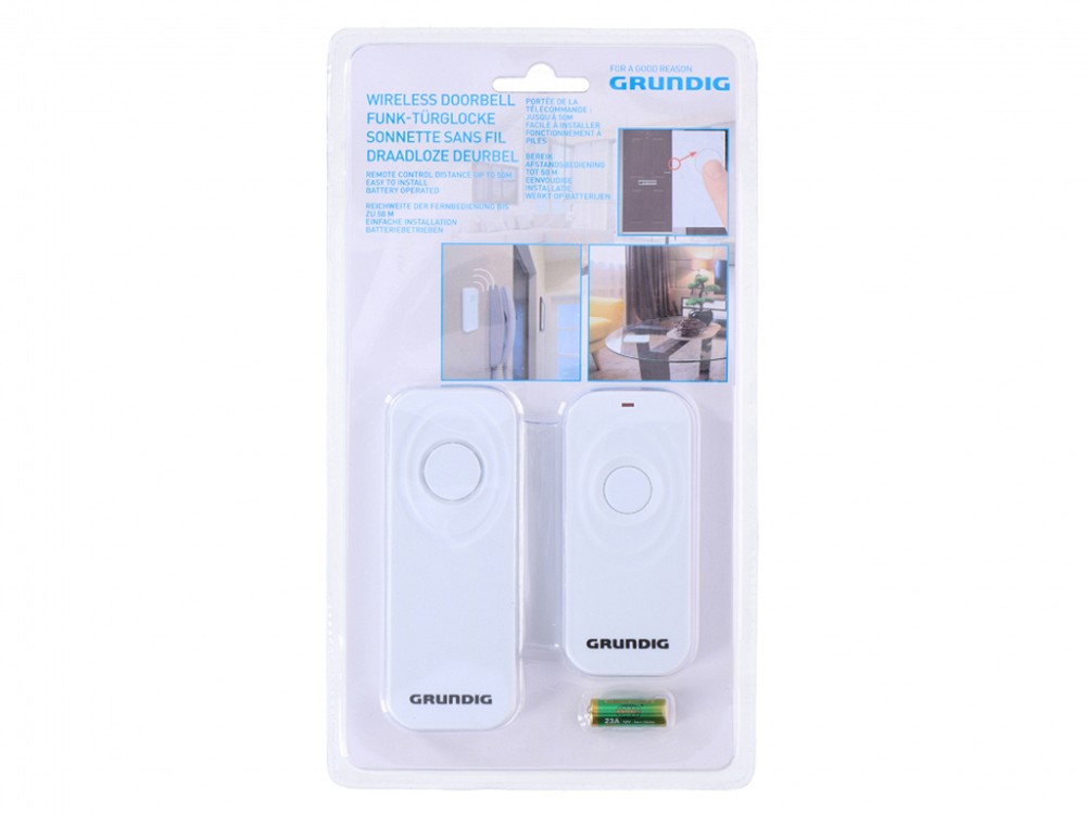 Grundig Wireless Doorbell Portable Chime Battery Operated 50m Range Home Loud