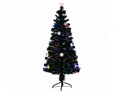 Artificial Christmas tree of the type with multicolored Fiber Optics and Stars, Height 200cm with base