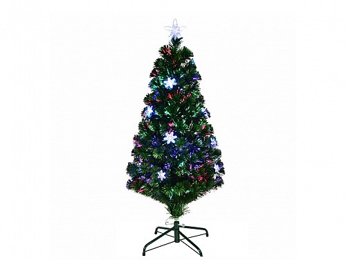 Artificial Christmas tree of the type with multicolored Fiber Optics and Stars, Height 120cm with base