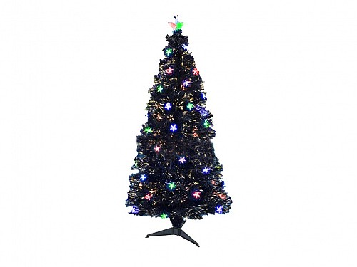 Artificial Fiber Christmas Tree with Stars and Bulbs 120cm with Base