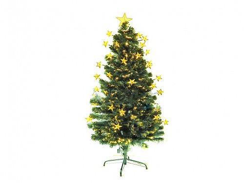 Artificial Christmas Tree with Fiber Optics and Gold Led Stars, 120cm