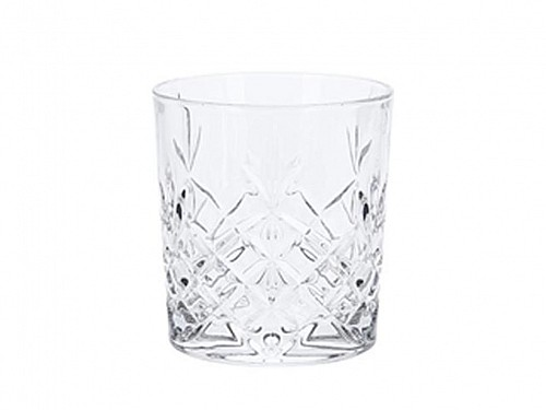 Crystal Water Glass with embossed design 300ml capacity in 4 designs