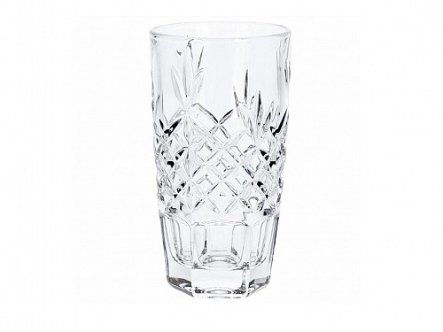 Crystal Water Glass with embossed design 320ml capacity in 4 designs