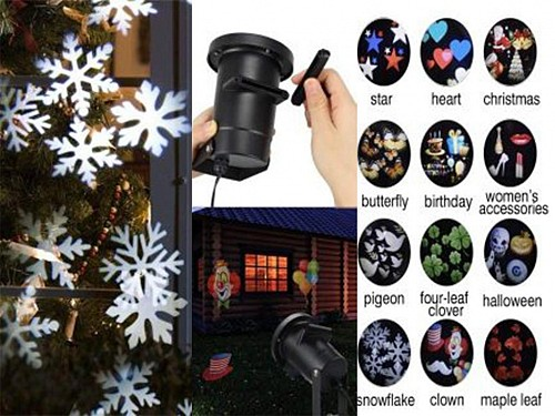 Indoor and Outdoor Christmas Laser LED Projector with 12 Removable Slides