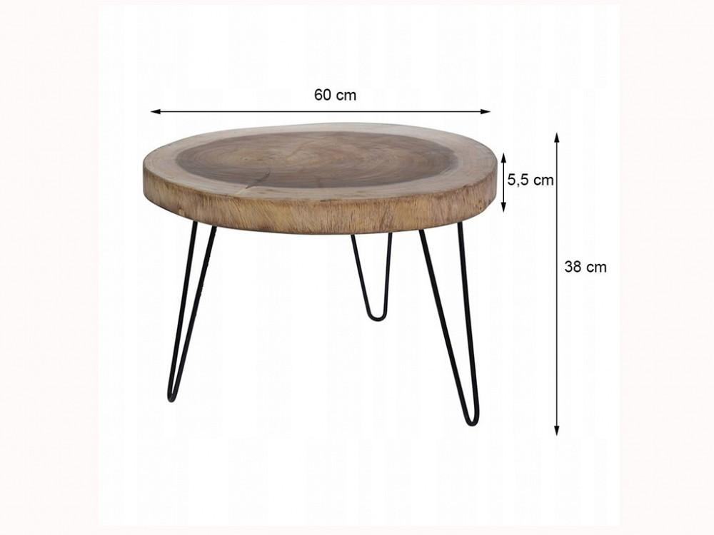 Στρογγυλό τραπεζάκι σαλονιού side table, σε σχήμα κορμός δέντρου, 60Χ5,5Χ38cm